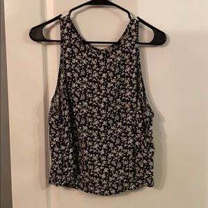 Garage Black floral Tank Top with open back